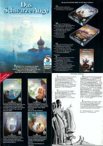 """4 der 16 Seiten eines der frühen Werbeflyer: Vorstellung der """"Verschwörung"""" neben anderen Klassikern (der ersten Bände von Südmeer- und Orkland-Kampagne), dazu eine erzählerische Idee zur Spielreihenfolge der Abenteuer (zur größeren Darstellung das Bild anklicken)."""
