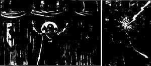 Auch DSA1 hatte schon so etwas wie ikonische Helden, wenn auch in schwarzweiß: Links der Praiot, der das Turnier in Gareth eröffnet aus dem allerersten Ausbau-Abenteuer, rechts der Praiot aus der zugehörigen Box mit den Ausbau Regeln, der Praios' Zorn herab ruft. (Beide Bilder von Jochen Fortmann aus dem Jahr 1985.)