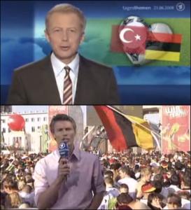 Auch absoluten Medienprofis unterlaufen Fehler, bei denen man nicht glauben mag, dass sie passieren können. Aber schön ist doch auch, wenn das ganze dann zu weiteren, humorvollen Aktionen führt. (Bilder aus dem Umfeld der Berichterstattung zur Fußball-EM 2008.)
