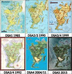 """Aventurien im Wandel der Zeiten: Nachdem DSA1 1985 die Form des Kontinents festlegte, kamen 1990 bei DSA2 viele Details hinzu. DSA3 startete 1992 mit einer Karte im """"Anschlag""""-Stil (u.l.) und erhielt 1999 eine aufgehübschte Version der großen Karte. DSA4 nutzte beide Karten weiter. Die DSA5-Karte kombiniert die """"angeschlagene Karte""""-Idee mit dem Aussehen, der Regionalkarten (siehe u.m.: aus den Regionalkarten zusammengefügte inoffizielle Aventurienkarte)."""