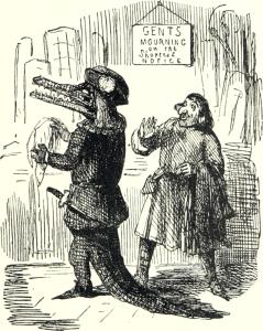 Eine der üblen Karikaturen, mit denen andere Echsen den guten Alrik zu Gespött der Echsenheit machen.